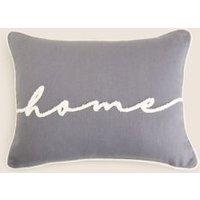 MandS Cotton Home Slogan Small Bolster Cushion - 1SIZE - Grey, Grey