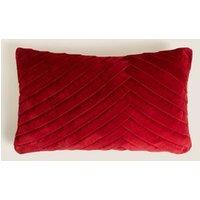 MandS Velvet Pleated Bolster Cushion - Oxblood, Oxblood