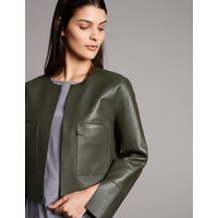 Autograph Leather Reversible Open Front Cropped Jacket