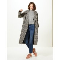 Limited Edition Wool Blend Checked Coat