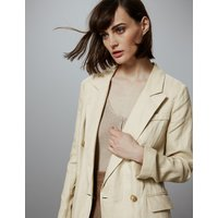 Autograph Pure Linen Double Breasted Longline Blazer