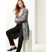 M&S Collection Textured longline Open Front coat