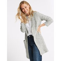 M&S Collection Cotton Rich Textured Open Front Coat