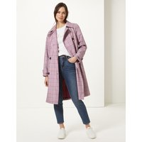 MandS Collection Checked Double Breasted Trench Coat