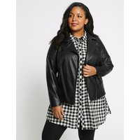 M&S Collection CURVE Faux Leather Biker Jacket
