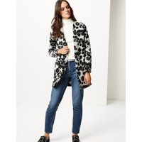 M&S Collection Textured Animal Print Coat
