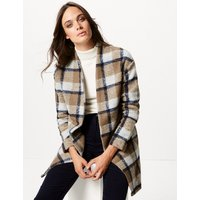 M&S Collection Checked Open Front Coat