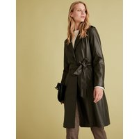 MandS Collection Faux Leather Belted Trench Coat