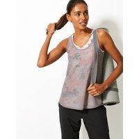 M&S Collection Mesh Print Double Layer Vest Top