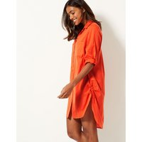 M&S Collection Pure Cotton Long Sleeve Beach Dress