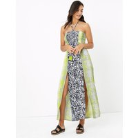 MandS Collection Snake and Leaf Print Shirred Maxi Beach Dress