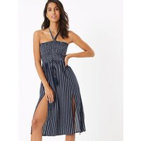 MandS Collection Pure Cotton Striped Midi Beach Dress