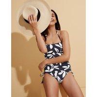 M&S Womens Leaf Print Padded Bandeau Tankini Top - 10 - Navy Mix, Navy Mix