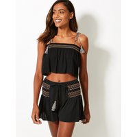 M&S Collection Shirred Tassel Square Neck Beach Top