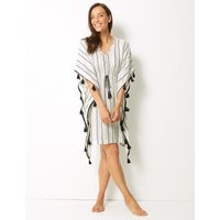 M&S Collection Striped Tassel Beach Kaftan