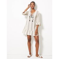 M&S Collection Pure Cotton Striped Beach Kaftan