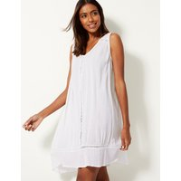 M&S Collection Cotton Rich Crinkle Swing Beach Dress