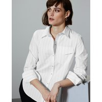 Autograph Pure Cotton Striped Button Detailed Shirt