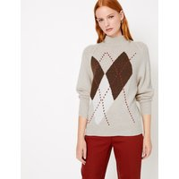 Autograph Argyle Turtle Neck Relaxed Fit Jumper