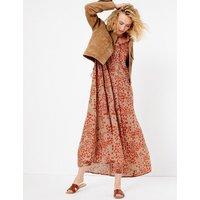 Per Una Pure Cotton Printed Tiered Shirt Maxi Dress