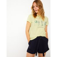 Per Una Cotton Rich Embroidered T-Shirt with Linen