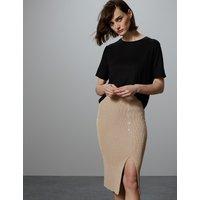 Autograph Linen Blend Textured Knitted Midi Skirt