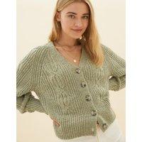 M&S Per Una Womens Cotton Textured V-Neck Cropped Cardigan - 12 - Blue Mix, Blue Mix,Khaki