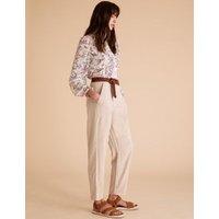 MandS Per Una Womens Tencel™ Cargo Straight Ankle Grazer Trousers - 6 - Khaki, Khaki,Mocha,Navy,Light Apricot