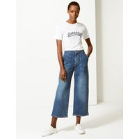 M&S Collection High Waist Wide Leg Cropped Jeans