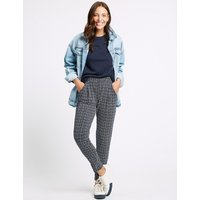M&S Collection Printed Tapered Leg Peg Trousers