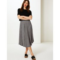M&S Collection Printed Jersey A-Line Midi Skirt