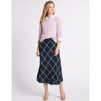 M&S Collection Checked Full Midi Skirt