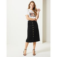 M&S Collection Pure Cotton Corduroy A-Line Midi Skirt