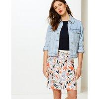 MandS Collection Linen Rich Leaf Print A-Line Mini Skirt