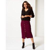Per Una Cotton Rich Textured Pencil Midi Skirt