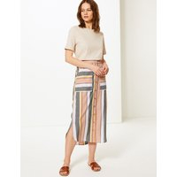 MandS Collection Linen Rich Striped Pencil Midi Skirt