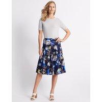 Classic Cotton Blend Floral Print Full Midi Skirt