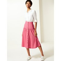 MandS Collection Linen Rich Button Detailed A-Line Midi Skirt