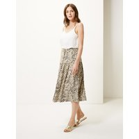 MandS Collection Linen Rich Animal Print A-Line Midi Skirt