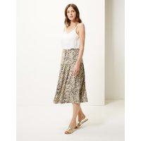 M&S Collection Linen Rich Animal Print A-Line Midi Skirt