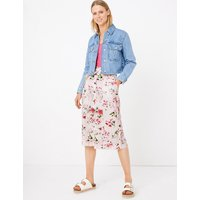 MandS Collection Linen Floral Print A-Line Skirt