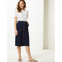 M&S Collection Pure Cotton A-Line Midi Skirt