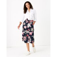 MandS Collection Floral Button Down Midi A-Line Skirt