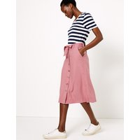 MandS Collection Linen Button Down Midi A-Line Skirt