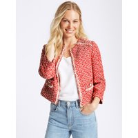 M&S Collection Printed Open Front Blazer