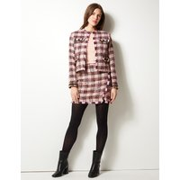 M&S Collection Checked Open Front Blazer