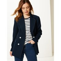 M&S Collection PETITE Contrast Stitch Double Breasted Blazer