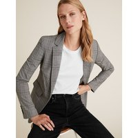 MandS Collection Tailored Checked Single Breasted Blazer