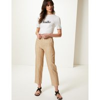 M&S Collection Pure Linen Striped Ankle Grazer Trousers