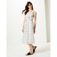 M&S Collection Pure Linen Checked Relaxed Midi Dress